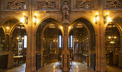 bookshelves in the John Rylands library