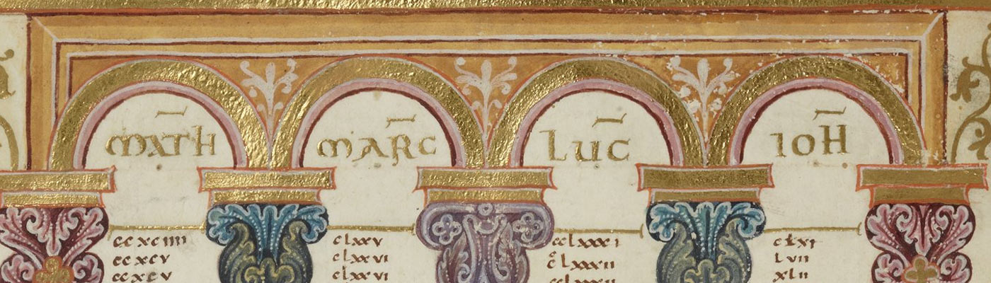 Golden arches page detail from a medieval book