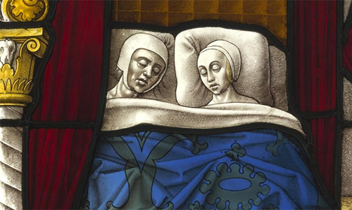 Painting of a couple asleep in bed